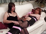 Kinky TGirl is bound before wanking and shooting her load