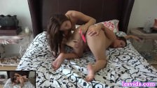 Two Teen Babes Pleasuring Each Other On Bed