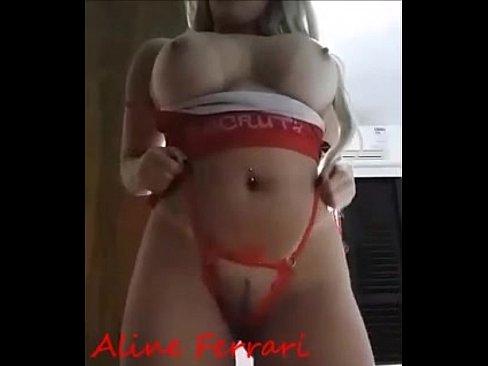 Aline Ferrari dança de lingerie vermelha