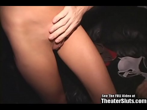 Skinny Blonde Gangbang in Porno Theater