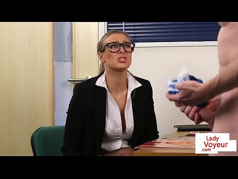 Office femdom humiliates guy while giving JOI naija porn