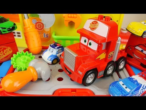 Cars truck and Poli car toys tool station play