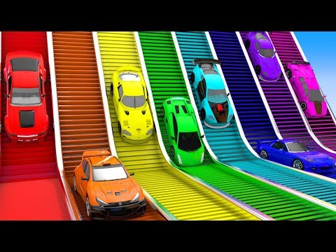 Colors for Children to Learn with Toy Super Cars with Giant Rainbow Rolling Sliders for Kids Vehicle