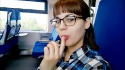 Public deep Blowjob in the train
